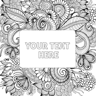 Handgezeichnete black & white adult coloring background