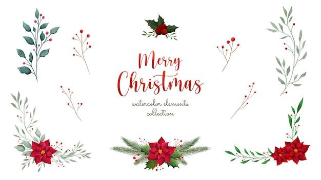 Handgezeichnete blätter und blumensammlung der frohen weihnachten