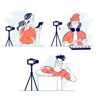 Handgezeichnete blogger-sammlung