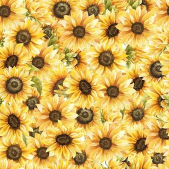 Handgezeichnete blumen des nahtlosen musters des sonnenblumenaquarells