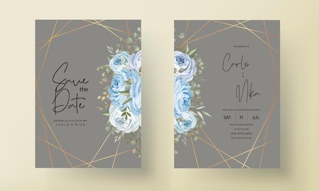 Handgezeichnete blumenhochzeitseinladungskartenschablone