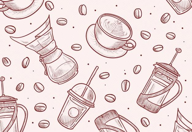 Handgezeichnete bohnen, tasse, französische presse, chemex, tropfer, tasse illustration zum mitnehmen
