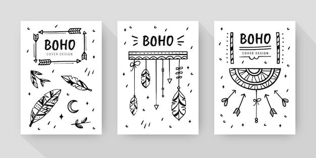 Handgezeichnete boho-cover-kollektion