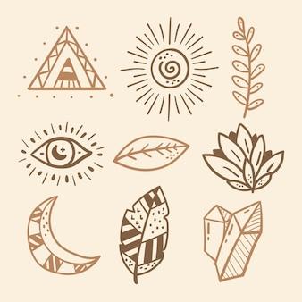 Handgezeichnete boho-elemente-kollektion