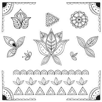 Handgezeichnete boho-elemente-sammlung