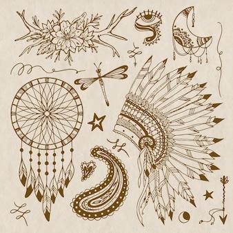 Handgezeichnete boho-elementsammlung