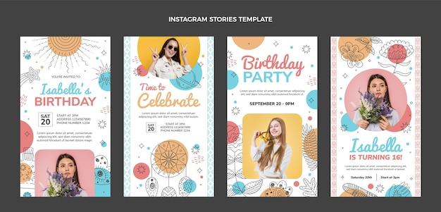 Handgezeichnete boho-geburtstags-instagram-geschichten