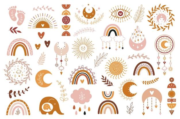 Handgezeichnete boho-regenbogen-sammlung