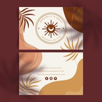 Handgezeichnete boho-visitenkartenvorlage