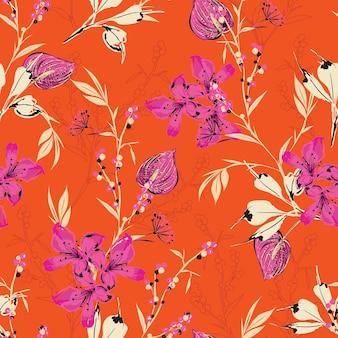 Handgezeichnete botanische blühende wilde blume retro-stimmung nahtlose muster in vektor-eps10, design für mode, stoff, web, tapete, verpackung auf lebendiger orange farbe