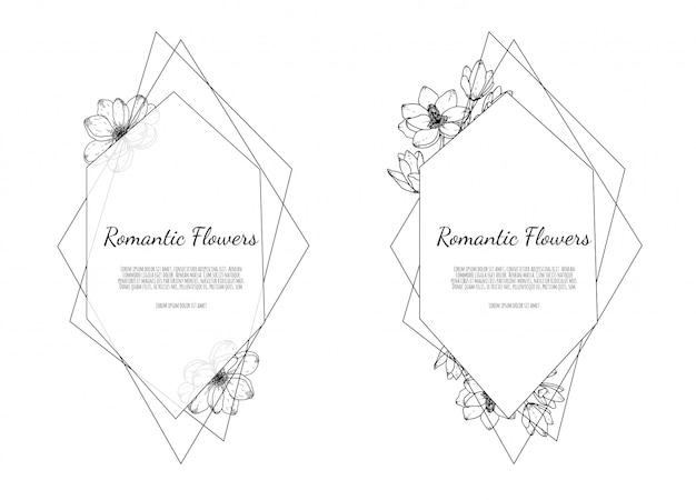 Handgezeichnete botanische illustrationen. hand gezeichnete floristische vorlage, rahmen mit zarten blumen, zweigen, pflanzen.