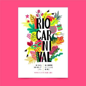 Handgezeichnete brasilianische karneval party flyer