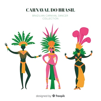 Handgezeichnete brasilianische karnevalstänzersammlung