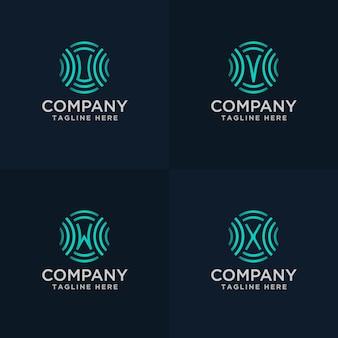Handgezeichnete buchstaben uvw und x mit signal-logo-konzept