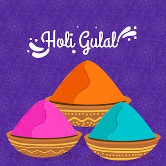 Handgezeichnete bunte holi gulal