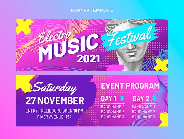 Handgezeichnete bunte horizontale banner des musikfestivals