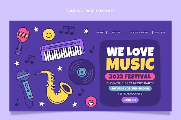 Handgezeichnete bunte musikfestival-landingpage