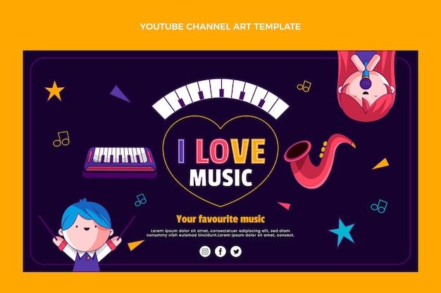 Handgezeichnete bunte musikfestival-youtube-kanalkunst