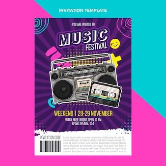 Handgezeichnete bunte musikfestivaleinladung