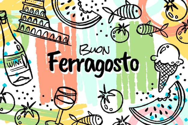 Handgezeichnete buon ferragosto-illustration