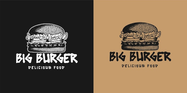 Handgezeichnete burger logo inspiration