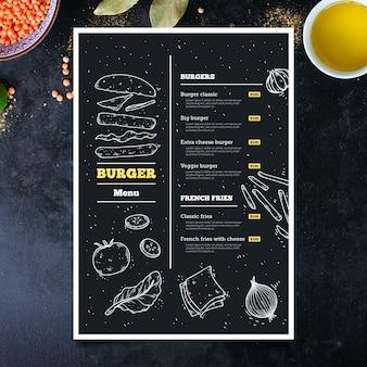 Handgezeichnete burger menüvorlage