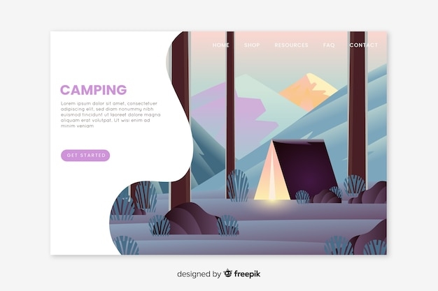 Handgezeichnete camping landung seitenvorlage