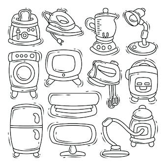 Handgezeichnete cartoon doodle elektronisches werkzeugbündel färbung