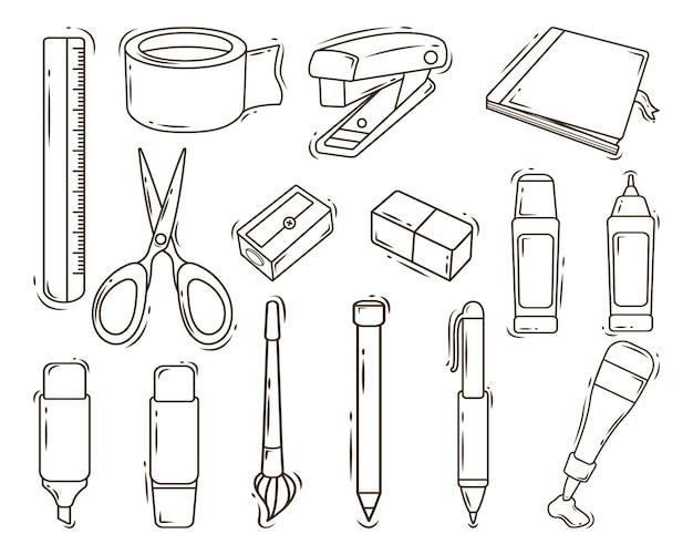 Handgezeichnete cartoon doodle kawaii stationäre sammlung färbung
