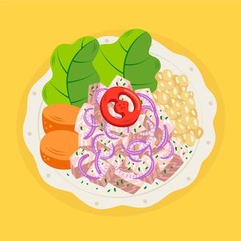 Handgezeichnete ceviche-illustration