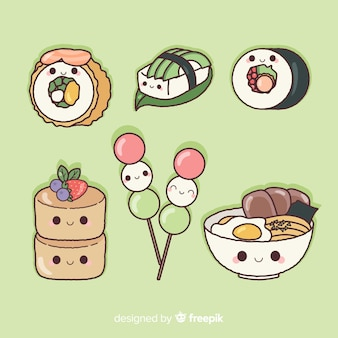 Handgezeichnete charmante sushi-sammlung