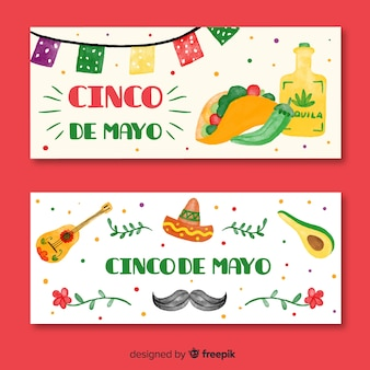 Handgezeichnete cinco de mayo banner