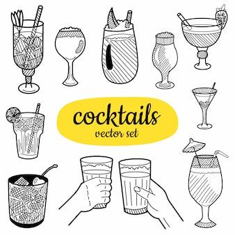 Handgezeichnete cocktails elemente
