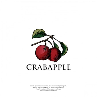 Handgezeichnete crabapple logo vorlage