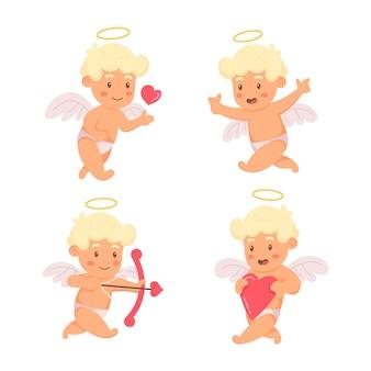 Handgezeichnete cupid character pack