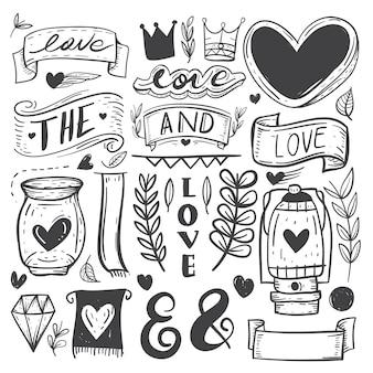 Handgezeichnete dekorative elemente
