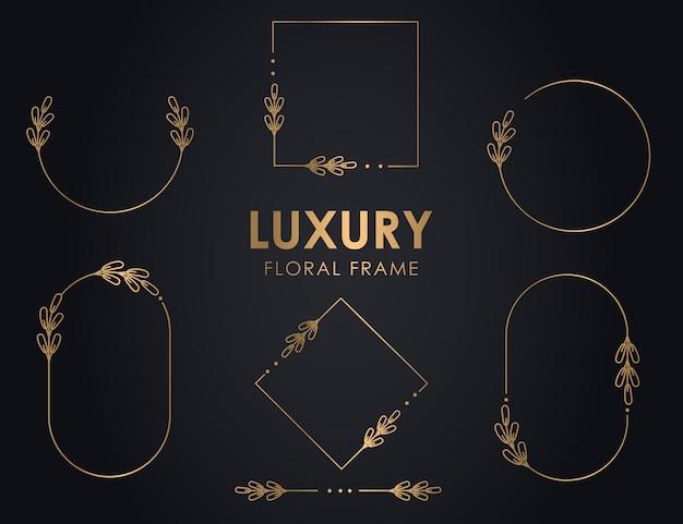 Handgezeichnete dekorative umrissene kränze mit ästen, luxus-blumenrahmen, premium-blumenkranz.
