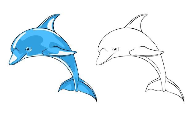 Handgezeichnete delphin-malvorlagen für kinder