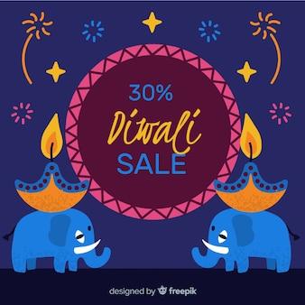 Handgezeichnete design diwali verkauf mit 30% rabatt