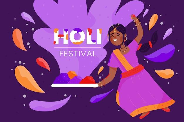 Handgezeichnete design holi festival