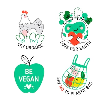 Handgezeichnete design ökologie abzeichen