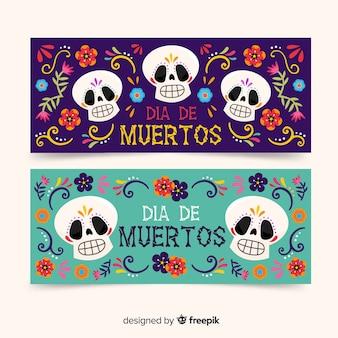 Handgezeichnete día de muertos banner vorlage