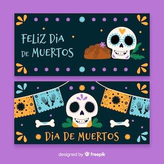 Handgezeichnete día de muertos banner