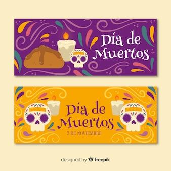 Handgezeichnete dia de muertos banner