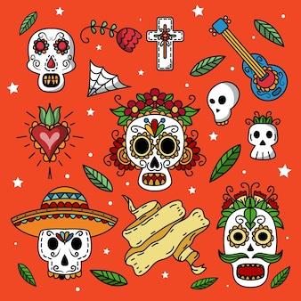 Handgezeichnete dia de muertos etikettensammlung