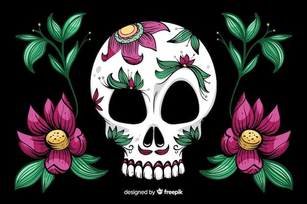 Handgezeichnete dia de muertos hintergrund