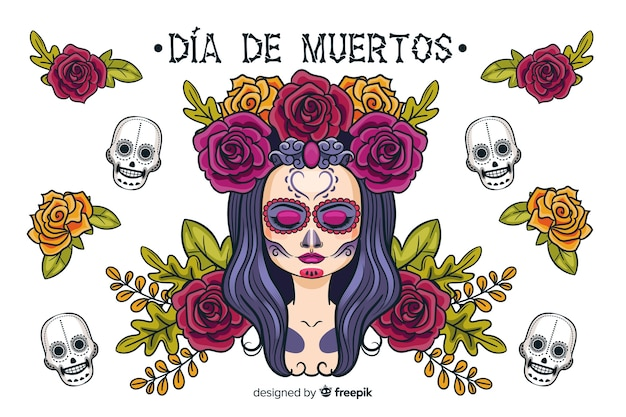 Handgezeichnete día de muertos hintergrund