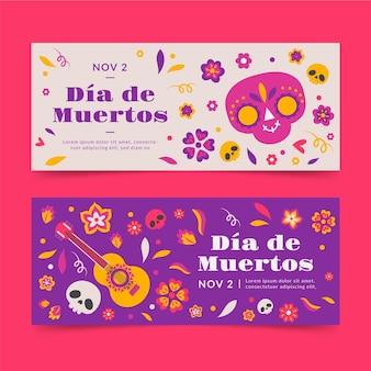 Handgezeichnete dia de muertos horizontale banner set