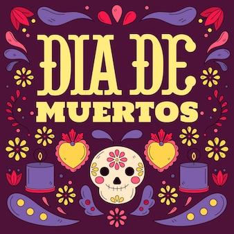 Handgezeichnete dia de muertos illustration