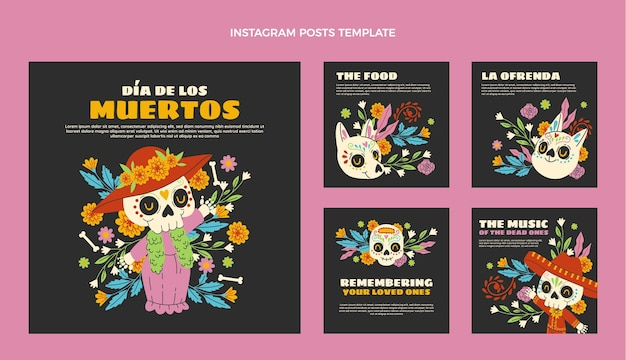 Handgezeichnete dia de muertos instagram posts sammlung